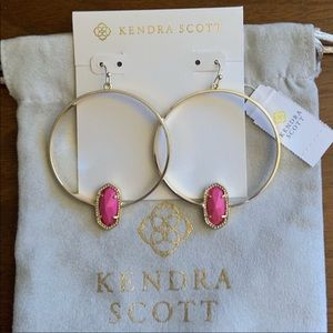NWT Kendra Scott Elora Gold and Pink Hoop Earrings